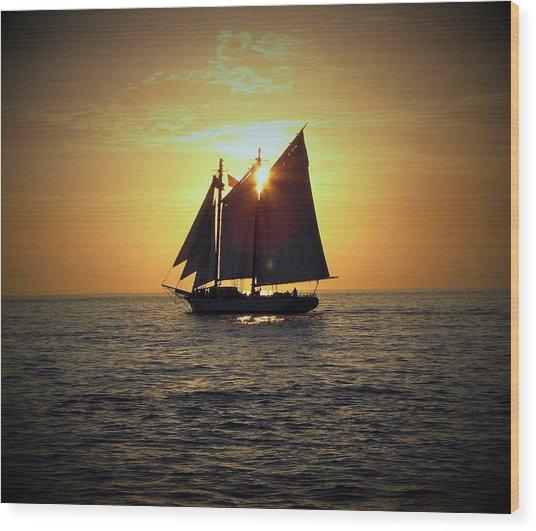 A Key West Sail At Sunset Wood Print