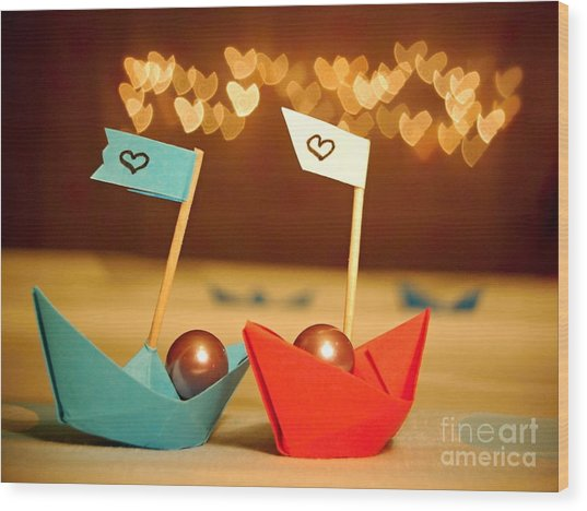 Lets Sail Through Life Together Wood Print