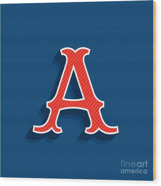 Letter A Logo In Classic Sport Team Wood Print