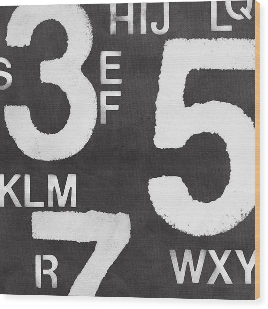 Letters And Numbers Wood Print
