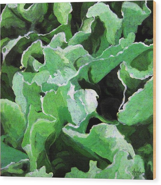 Lettuce Go Green - Food Art Wood Print by Linda Apple