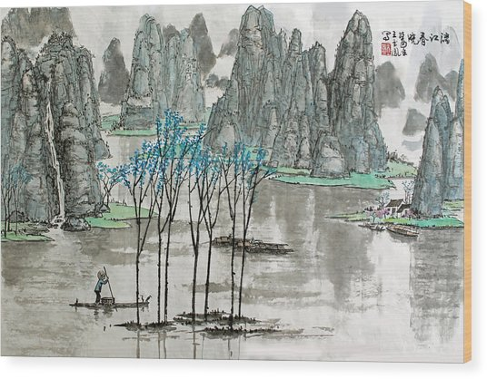 Li River In Spring Wood Print