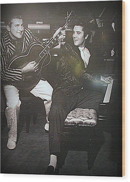 Liberace And Elvis Wood Print