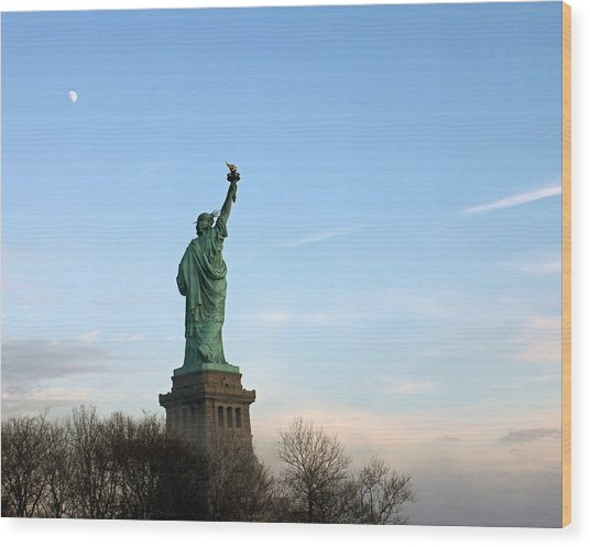 Liberty And Moon Wood Print