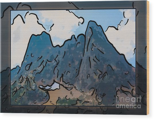 Liberty Bell Mountain Abstract Landscape Painting Wood Print