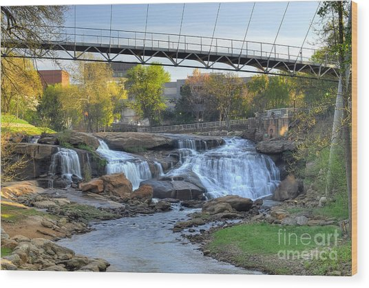 Liberty Bridge And The Falls In Downtown Greenville Sc Wood Print