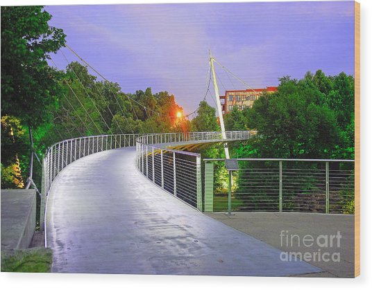 Liberty Bridge In Downtown Greenville Sc At Sunrise Wood Print