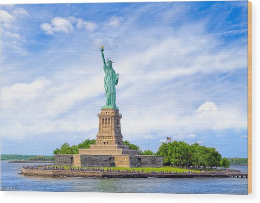 Wood Print featuring the photograph Liberty Enlightening The World - New York City by Mark E Tisdale