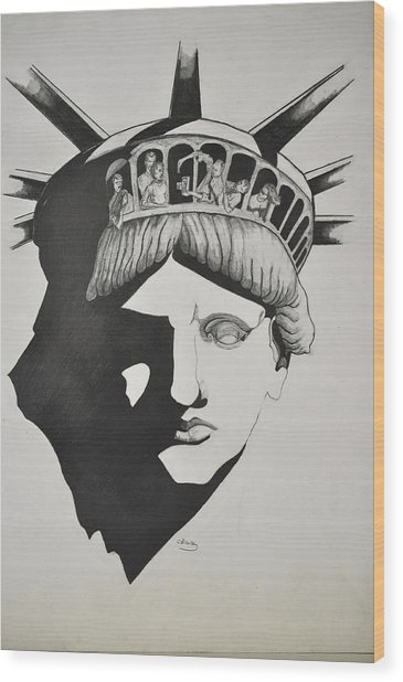 Liberty Head With People Wood Print by Glenn Calloway