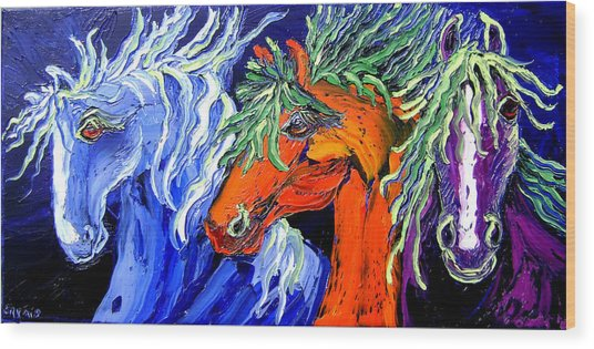 Liberty Horse Wood Print by Isabelle Gervais