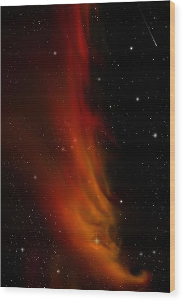 Liberty's Flame Nebula Wood Print by Julie Rodriguez Jones