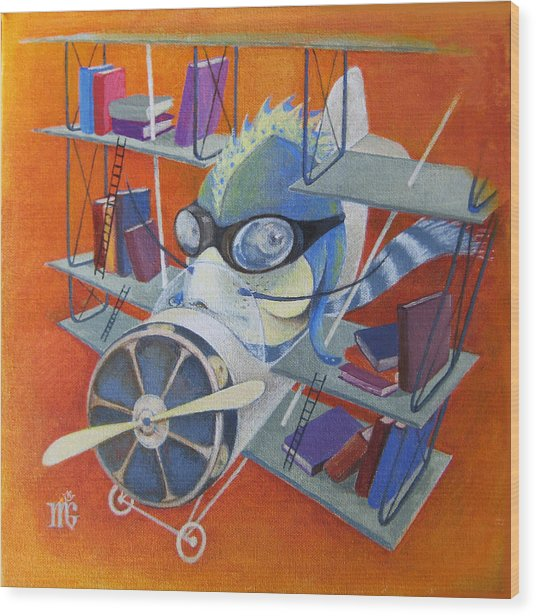 Librarian Pilot Wood Print