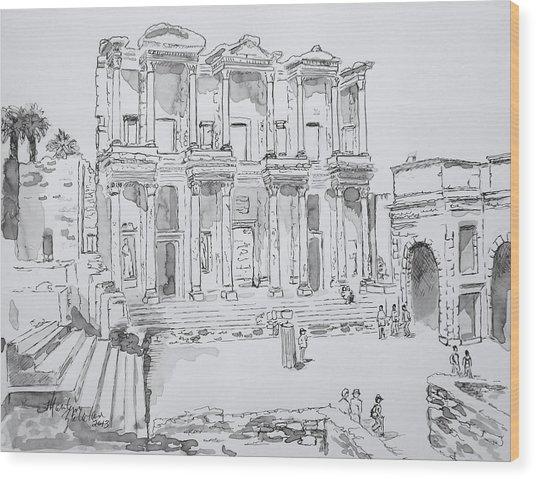 Library At Ephesus Wood Print