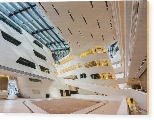 Wood Print featuring the photograph Library Interior 2  Zaha Hadid Wu Campus Vienna  by Menega Sabidussi
