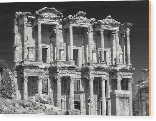 Library Of Celsus Ruins At Ephesus Wood Print