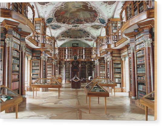Library Of St Gall's Abbey Wood Print by Michael Szoenyi/science Photo Library