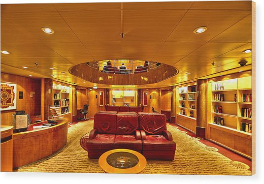 Library On Royal Caribbean Adventures Of The Seas Wood Print