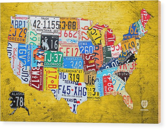 License Plate Art Map Of The United States On Yellow Board Wood Print