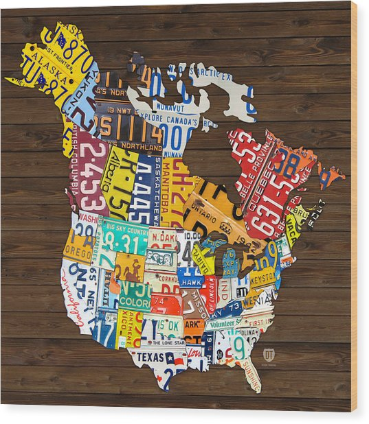 License Plate Map Of North America - Canada And United States Wood Print