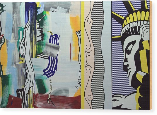 Lichtenstein's Painting With Statue Of Liberty Wood Print