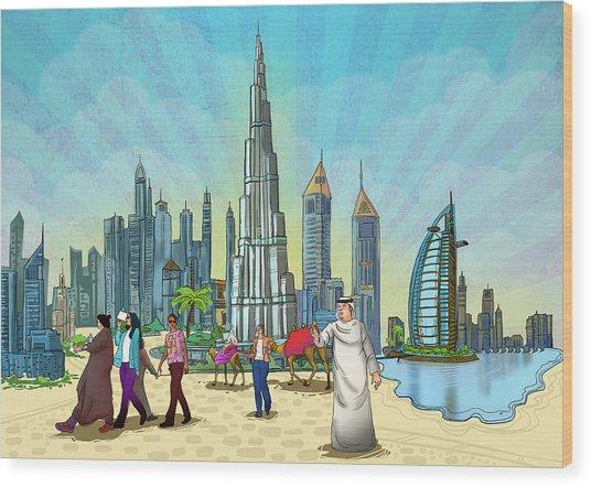 Life In Dubai Wood Print