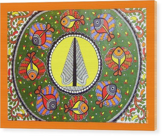 Life Of Tree-madhubani Painting Wood Print