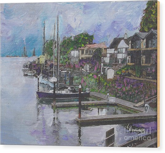 Alameda Life On The Estuary Wood Print