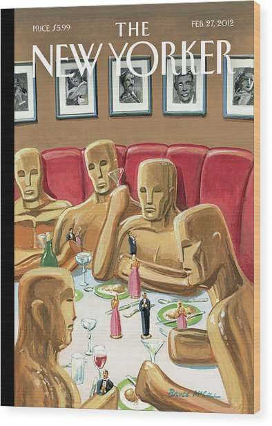 Life Sized Oscar Awards At A Dinner Wood Print by Bruce McCall