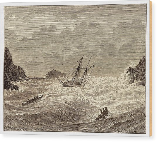Lifeboat Approaching A Wreck Wood Print