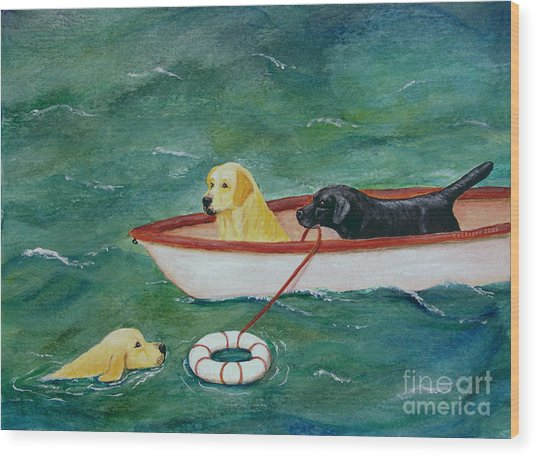 Lifeboat Labrador Dogs To The Rescue Wood Print
