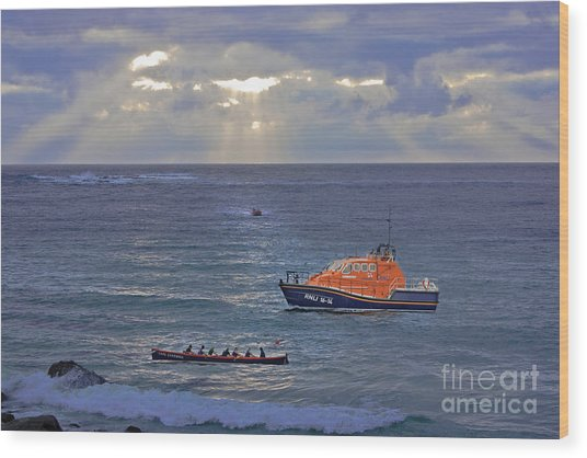 Lifeboats And A Gig Wood Print