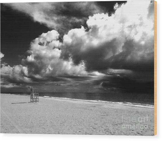 Lifeguard Chair Clouds Wood Print