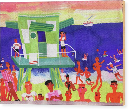 Lifeguard Station On Beach In Miami Wood Print by Christopher Corr