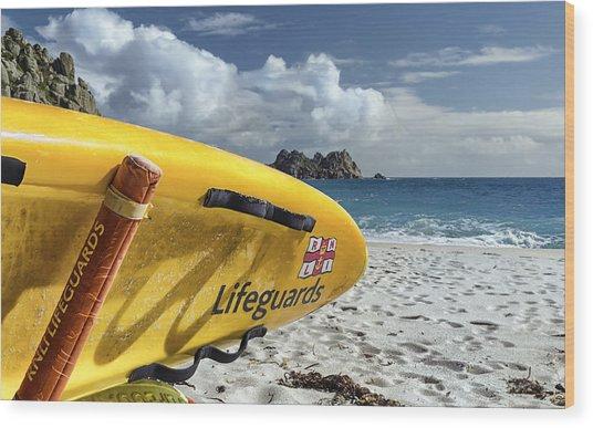 Surfboard In Cornwall Wood Print