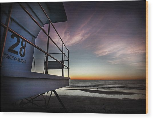 Lifeguard Tower Series - 21 Wood Print by James David Phenicie