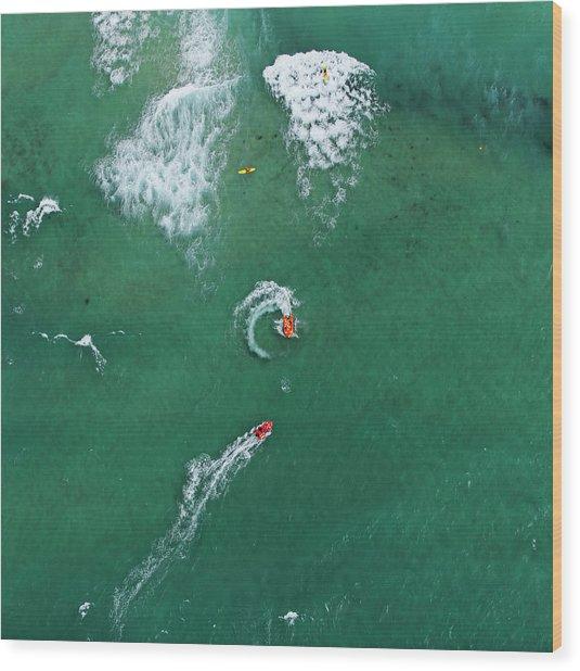 Lifeguards Patrolling The Sea Wood Print