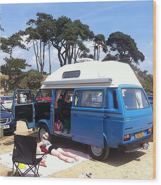 Life's A Beach #camper #vw #vwcamper Wood Print