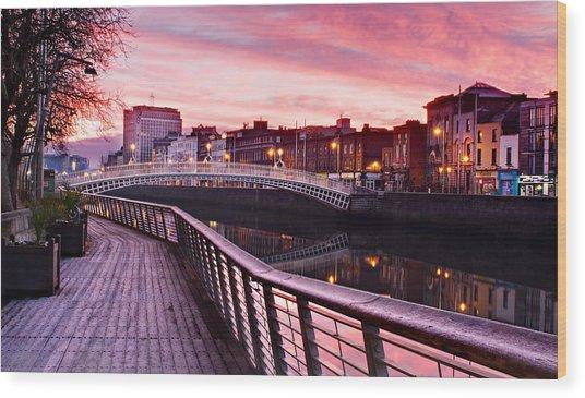 Wood Print featuring the photograph Liffey Boardwalk At Dawn - Dublin by Barry O Carroll