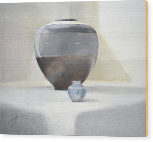 Light And Shadow Pastel Wood Print