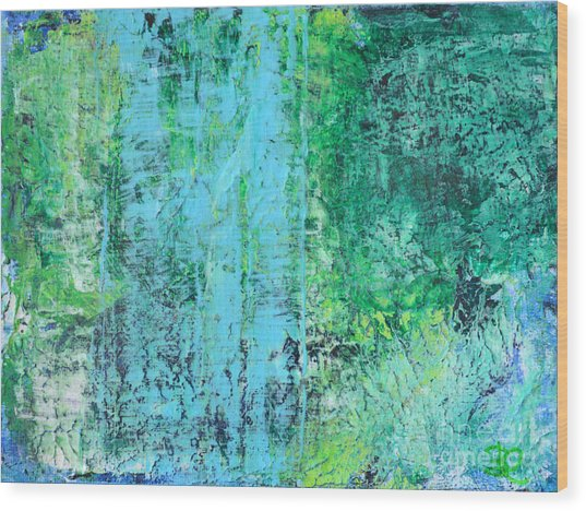 Light Blue Green Abstract Explore By Chakramoon Wood Print by Belinda Capol
