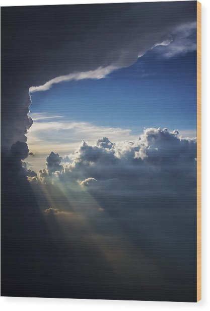 Light Shafts From Thunderstorm II Wood Print