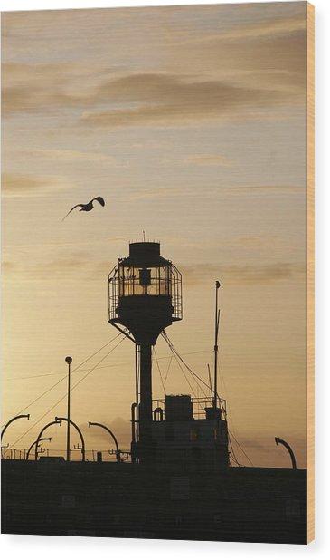 Light Ship Silhouette At Sunset Wood Print