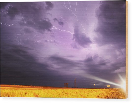 Light Show Over Yorkton Wood Print