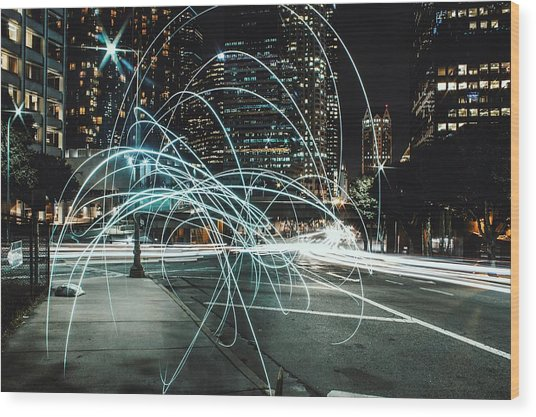 Light Trails On City Road At Night Wood Print by Kevin Martinez / Eyeem