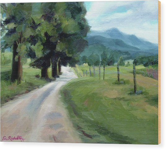 Lighted Path Of Cades Cove Wood Print