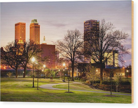 Lighted Walkway To The Tulsa Oklahoma Skyline Wood Print