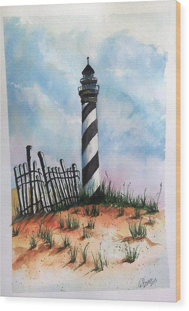 Lighthouse And Fence Wood Print