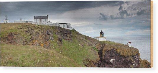 Lighthouse And Foghorn Along The Coast Wood Print