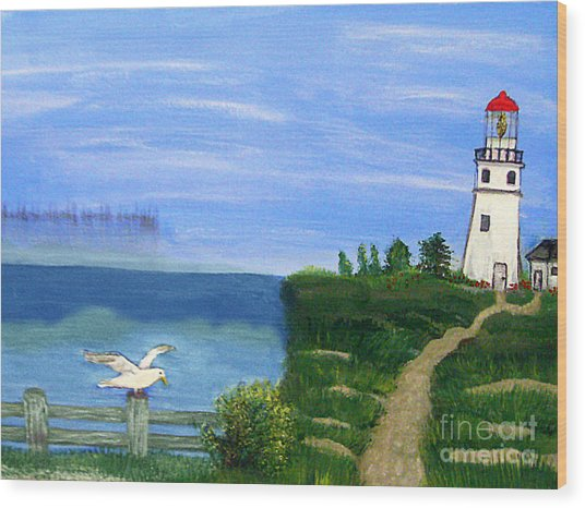 Lighthouse And Seagull 2 Wood Print