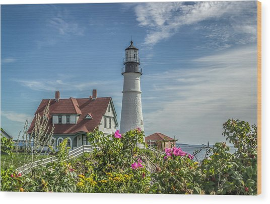 Lighthouse And Wild Roses Wood Print